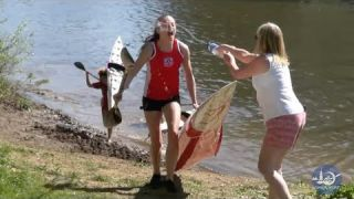 Battles at the canoe marathon portage