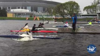 Summer canoe sprint training session in Saint-Petersburg