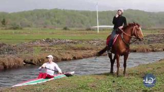 Wake Kayaking with horse